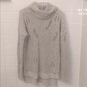 NWT Sweater Dress Distressed Gray Cowl Turtle Neck